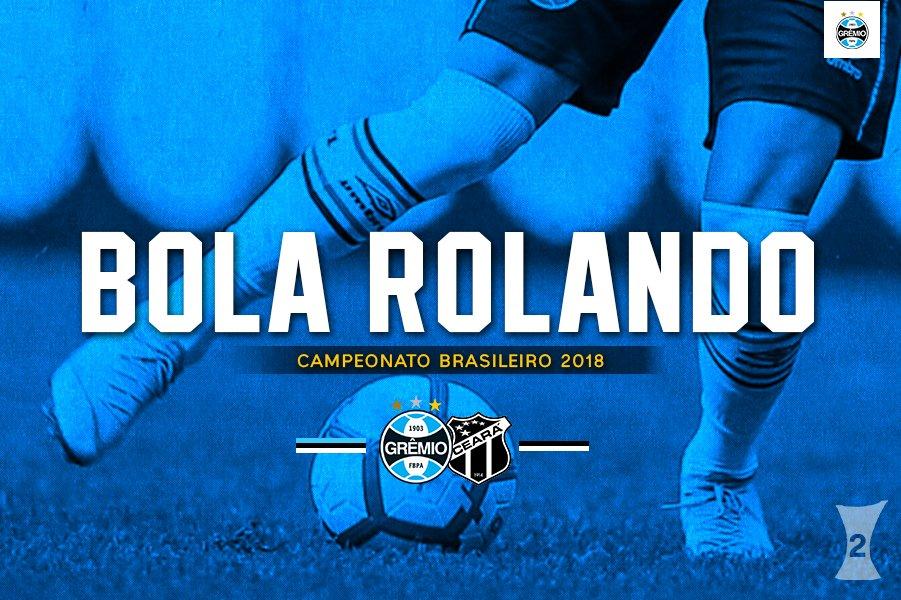 Bola rolando na Arena! Vamos, Grêmio! 🔵⚫⚪ 🇪🇪⚽💪🏽#Brasileirão2018 #GRExCSC #DiaDeGrêmio