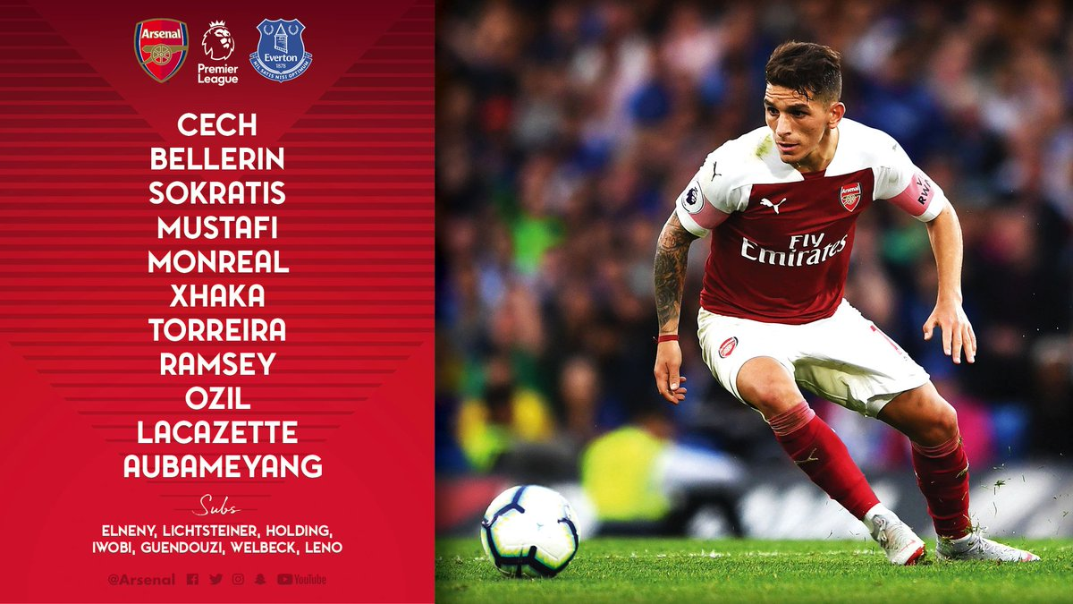 📋 Here's how we line up against @Everton this afternoon 👇  #ARSEVE