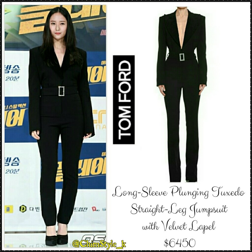 0ce38c99d283 180920  fx s  Krystal   OCN s New Drama  Player  Press Conference Jumpsuit  TOM  FORD - Long Sleeve Plunging Tuxedo Straight Leg Jumpsuit with Velvet Lapel  ...