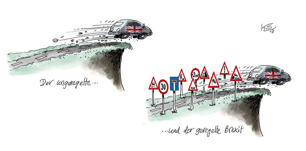 Der geregelte und der ungeregelte #Brexit haben ihre Ähnlichkeiten... Mehr Karikaturen von #Stuttmann: https://t.co/DFxf9Jk8nQ