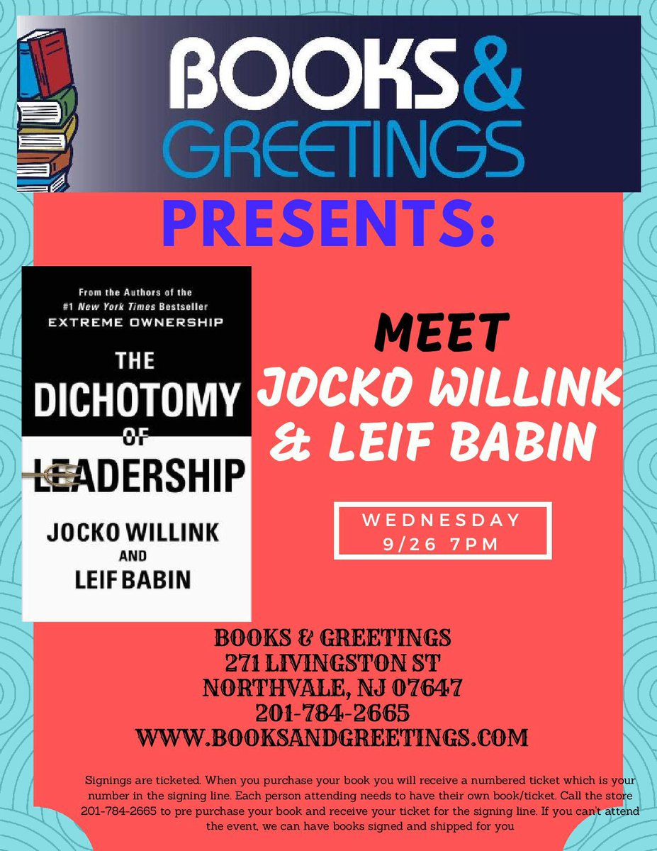 Books and greetings on twitter looking forward to meeting of dichotomyofleadership northvalenj call us to reserve your spot in line if you cannot attend we ship signed books nationwidepicitter m4hsunfo