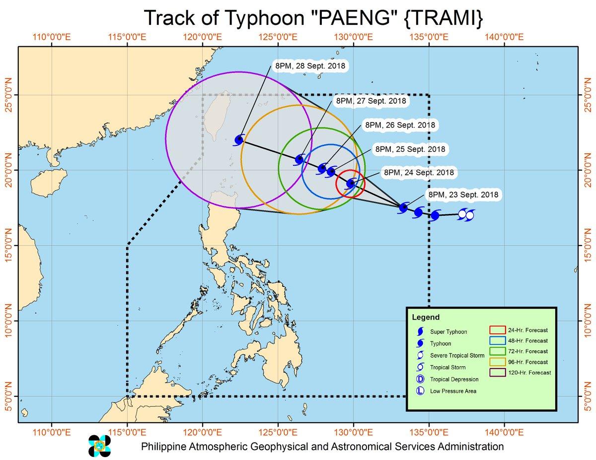 Typhoon #PaengPH has slightly intensified as it moves West Northwestward.  https://t.co/ydPE52zHXJ