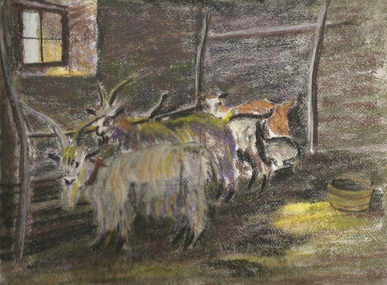 """La stalla delle capre""(The stable of the goats)#Drawing #Pastel #scrivoarte #frasiecolori#ArtItaly #ArtWork #artist #painting Nino di Mei  - Ukustom"