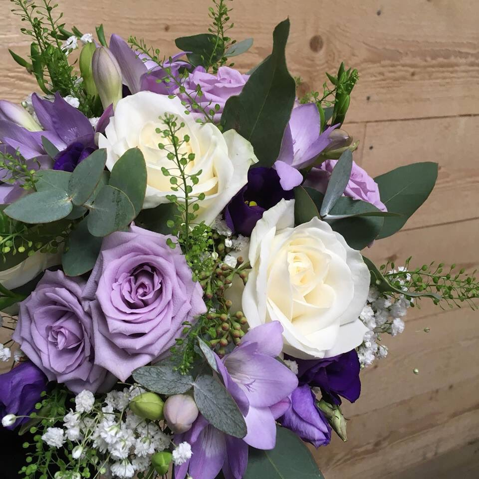 Georgelesleyflowers georgeshopsales twitter wedding bridal bouquet sweet surprise flowers 2018bride roses freesia lissianthus gypsophila eucalyptus thlaspi white lilac purple swindon izmirmasajfo