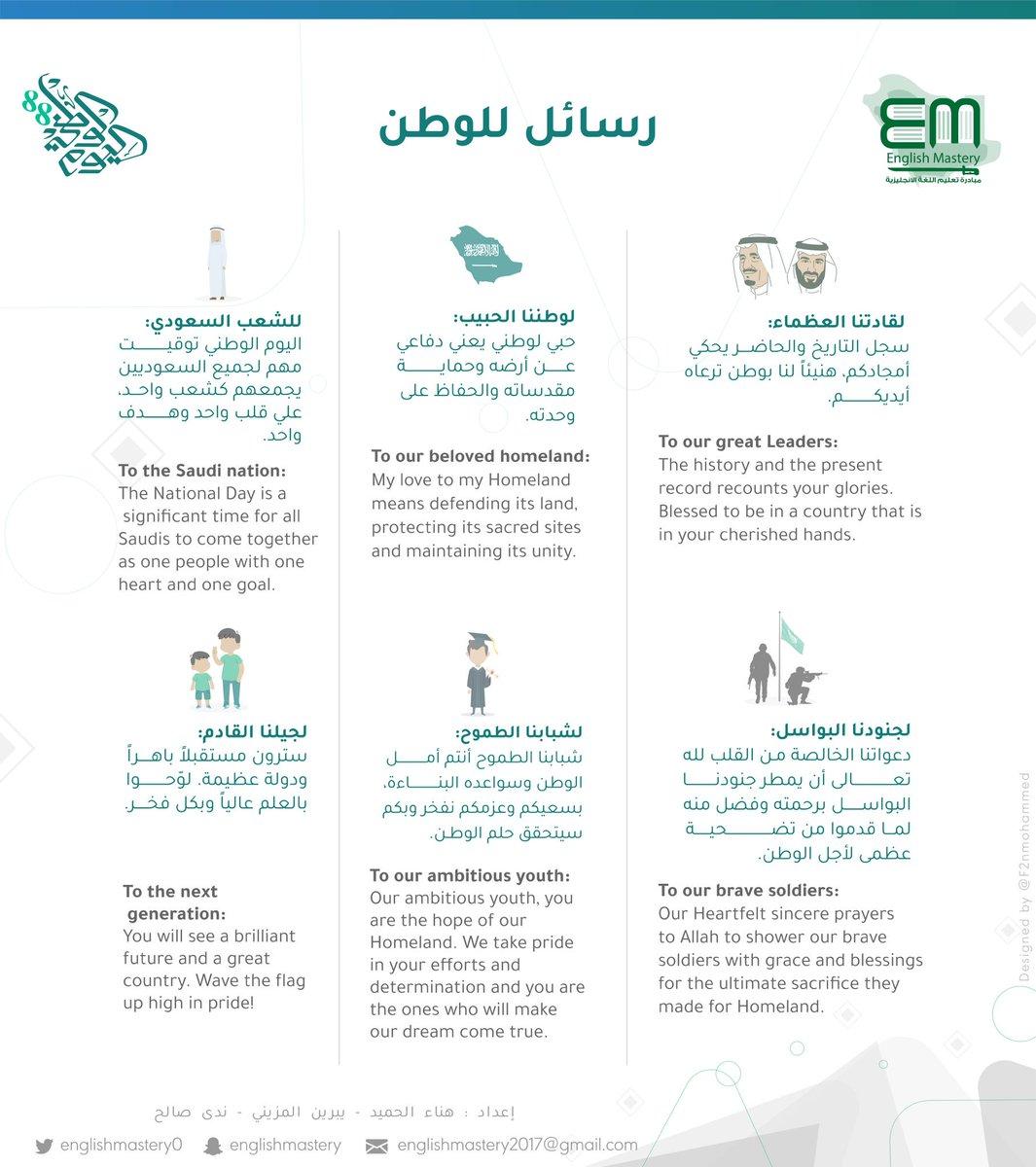 #SaudiNationalDay2018  #88عاما_من_العطاء #اليوم_الوطني88  #دام_عزك_ياوطن٨٨ #مدونة_تعلم_الإنجليزية رسائل للوطن الغالي 🇸🇦