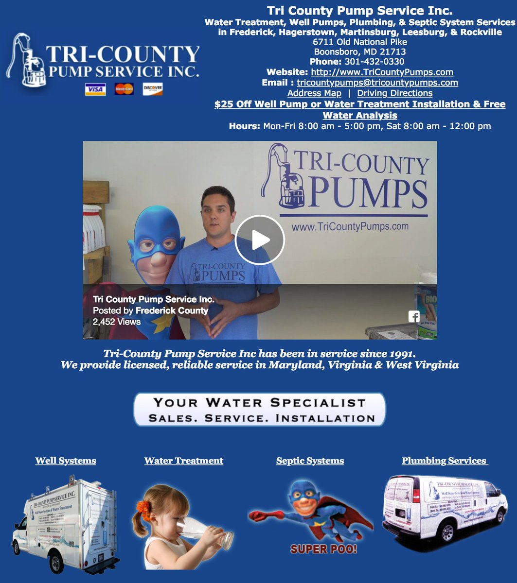 Well Pumps Plumbing Septic System Services In Frederick Hagerstown Martinsburg Leesburg Rockville 6711 Old National Pike Boonsboro