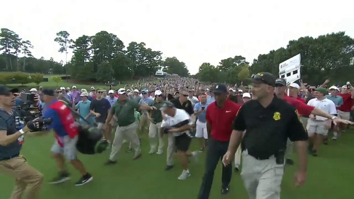 "THIS IS AMAZING! Like a scene from a movie.   Fans in Atlanta chant ""Tiger! Tiger! Tiger!"" as he walks towards the 18th green.  After a 1,876 day wait, Tiger Woods has won a PGA Tour event. His 80th.   🐅🐅🐅"