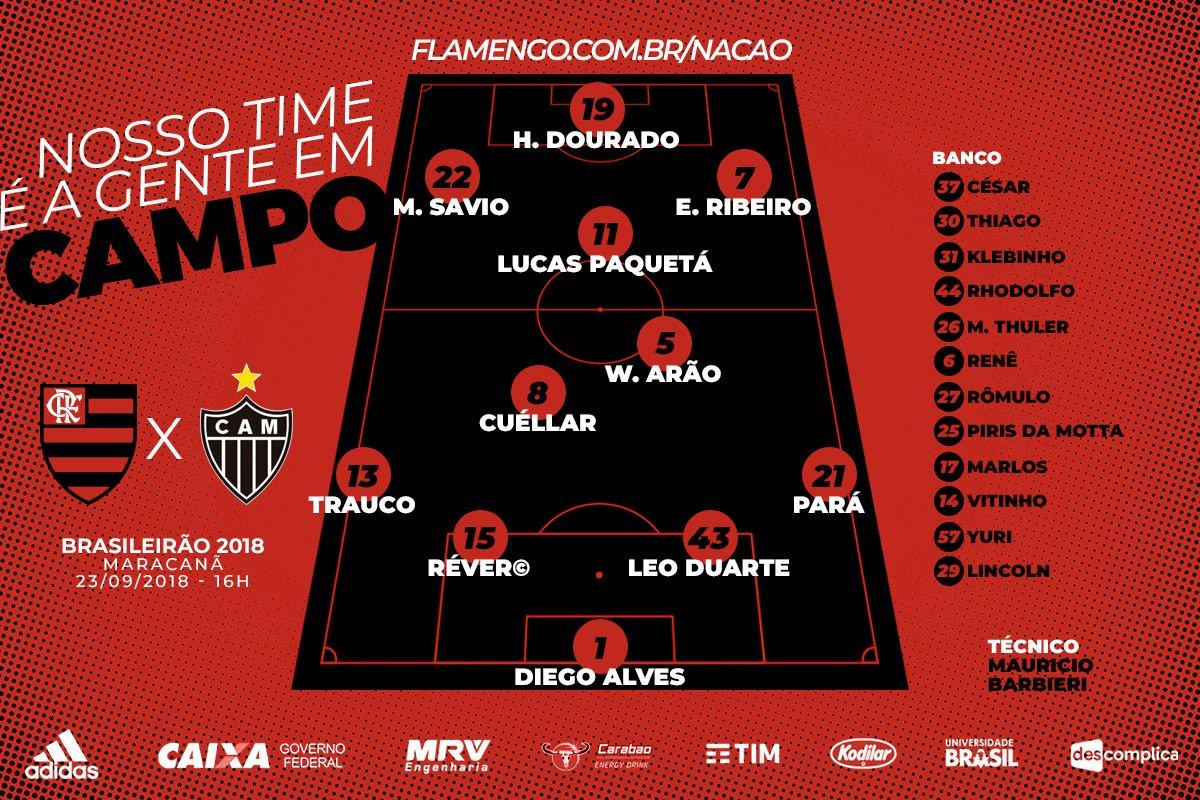 Veja a escalação oficial do Flamengo para a partida contra o Atlético-MG