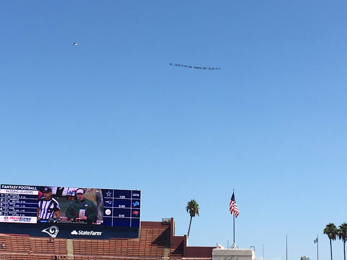 Lindsey Thiry On Twitter Planes Circling The Coliseum With Banners That Read Go Back To San Diego Chargers La Doesn T Want You And Nfl Listen To Ice Cube Chargers Don T Belong In