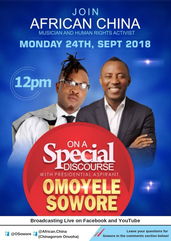 Fall in make we yan with Africa China tomorrow for Facebook and Youtube for 12pm. We wan talk as per how we wan make Naija beta for everybody.  Oyinbo talk say na data na him dem dey use watch Live video. Tainkyou. Abeg no miss am!  #SoworeSabi #AACPARTY   #TakeItBack <br>http://pic.twitter.com/lSpR5FVxhF