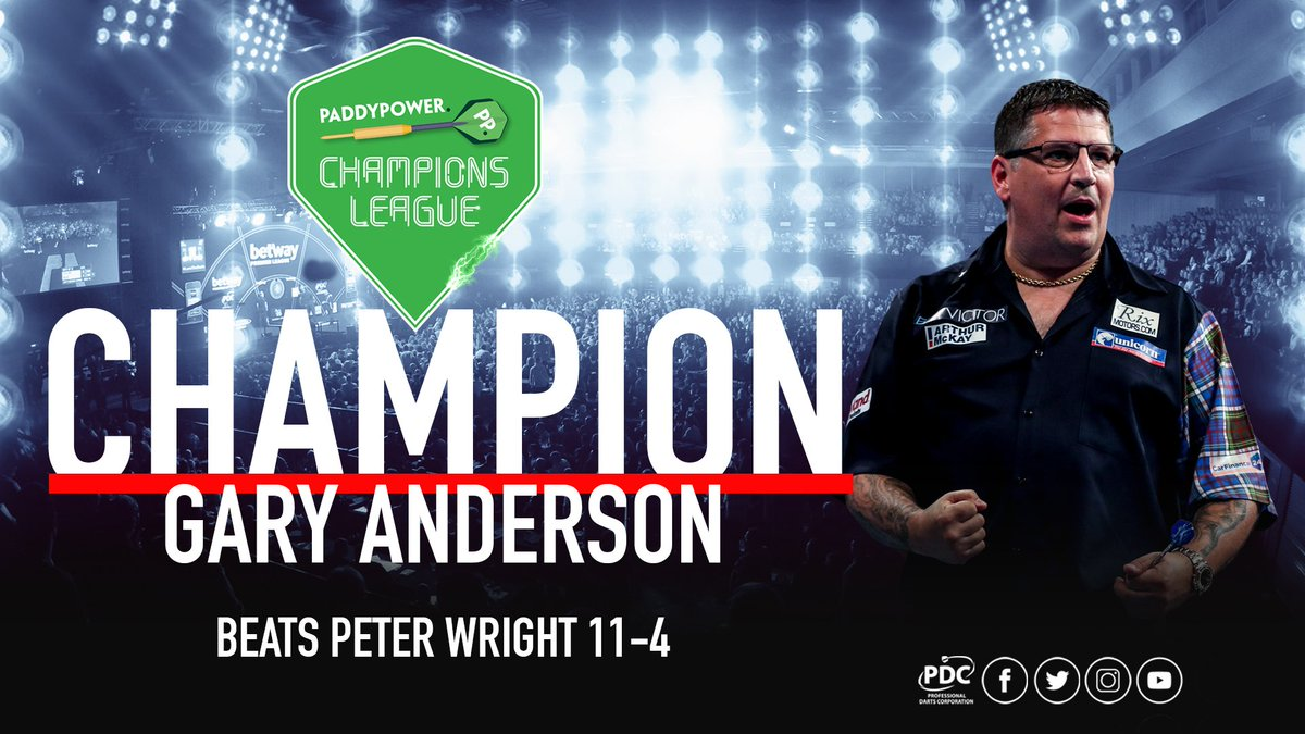 CHAMPION!!!! Gary Anderson beats Peter Wright 11-4 in the final to be crowned the 2018 @paddypower Champions League of Darts winner! #PPDarts