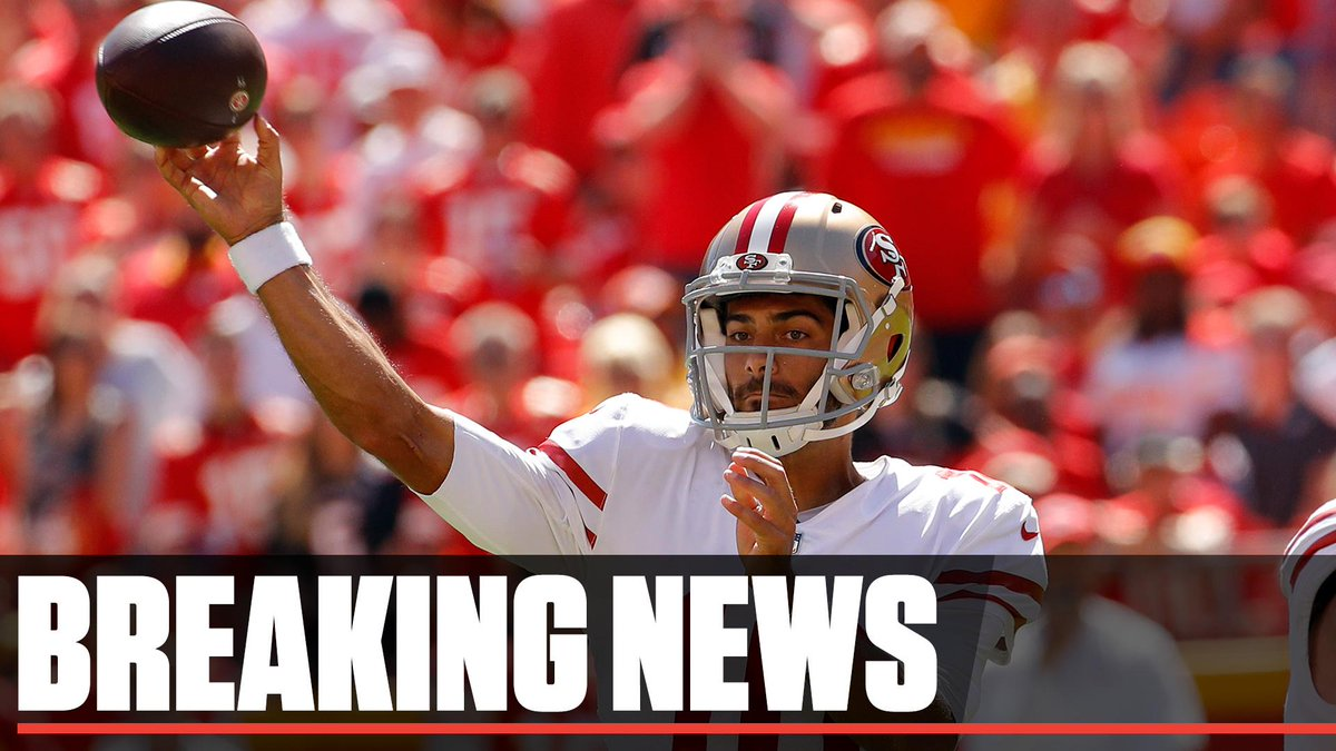 Breaking: The 49ers fear QB Jimmy Garoppolo has a torn ACL. He will have an MRI on Monday, according to coach Kyle Shanahan.