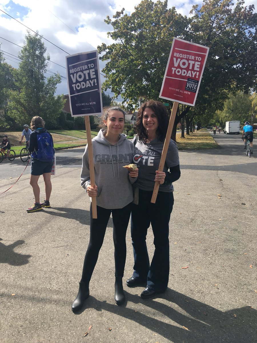 Mother-daughter voter registration teams! #WhenWeAllVote #gotv #StormTheMidterms