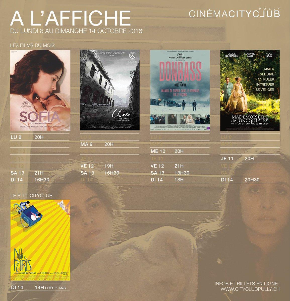 Le programme de la semaine! Avec les quatre films du mois et une séance du P'tit CityClub ce dimanche avec Dilili à Paris de Michel Ocelot. 🔹http://www.cityclubpully.ch #cinemacityclub #lesfilmsdumois #leptitcityclub #dililiaparis #michelocelot