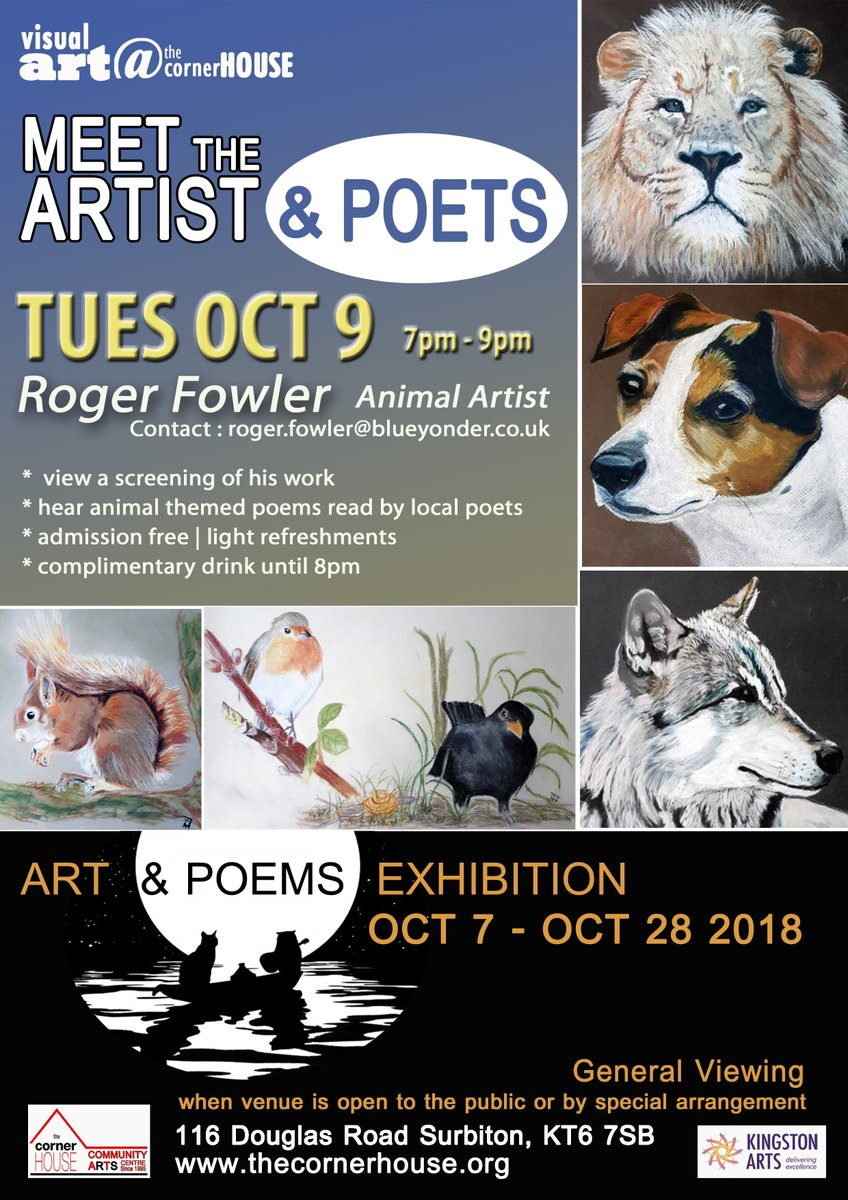 Tomorrow evening at the cornerHOUSE, paintings and poetry at the gala night for our October exhbition featuring animal artist Roger Fowler https://t.co/RbWYTmG105