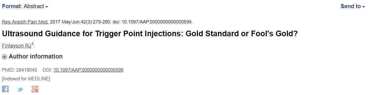 No pinches sin saber donde pinchas #ecografía #guiada @CongresoIFI @socifin @MVClinic  Finlayson RJ. Ultrasound Guidance for Trigger Point Injections: Gold Standard or Fool's Gold? Reg Anesth Pain Med. 2017 May/Jun;42(3):279-280. doi: 10.1097/AAP.0000000000000599. pic.twitter.com/yUEJlPUjMh