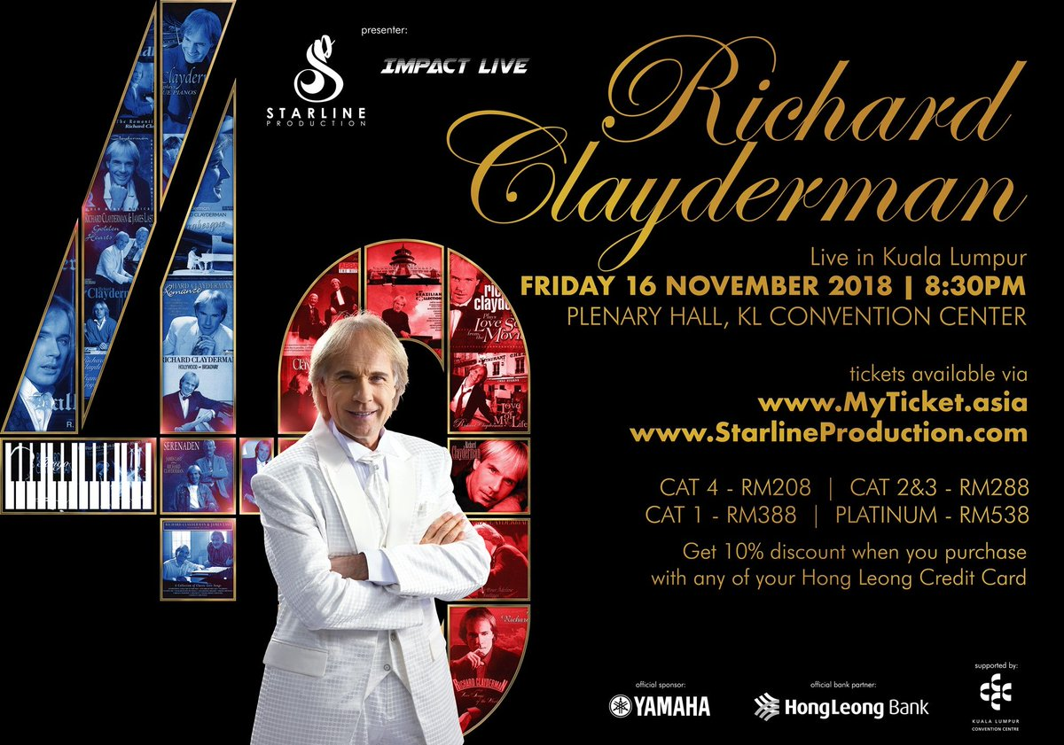 """""""The Prince of Romance"""" @claydermanmusic will be coming back to Kuala Lumpur on the 16th November 2018 for a one-night only performance at Plenary Hall@KLCC. Tickets available NOW via MyTicket - https://t.co/b2CFHT6TtP. 10% discount on all Hong Leong Bank credit/debit cards. https://t.co/djycaUjX0P"""