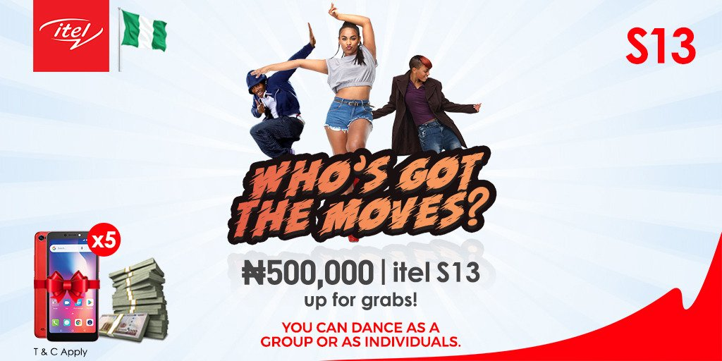 Got the moves? Then this contest is for you. N500,000 and 5 itel S13 are up for grabs!   Just; 1. Download the song here&gt; http:// bit.ly/S13Music  &nbsp;    2. Shoot a 60-secs video of you dancing to the song 3. Upload it and tag us @itelMobileNG with hashtags #iGotTheMoves #SelfieNation<br>http://pic.twitter.com/OAkfFC7ppv