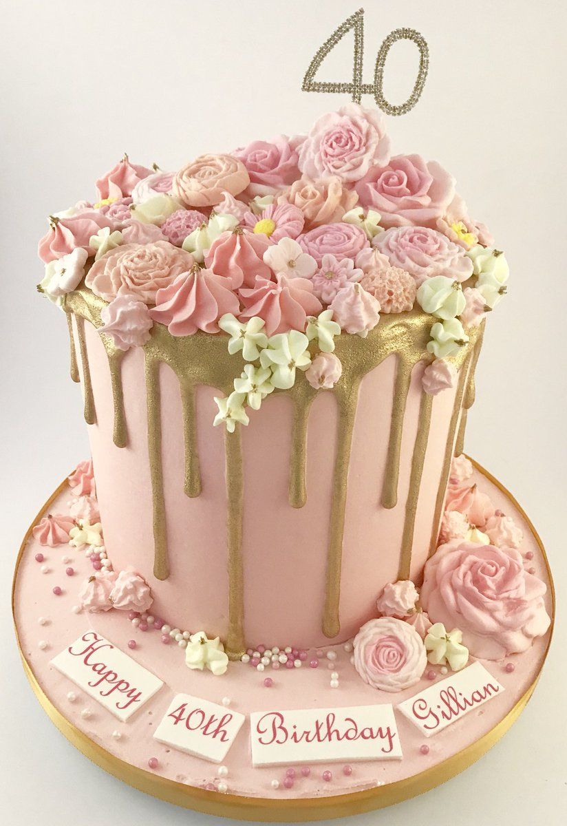 The Danes Bakery On Twitter 40th Birthday Cake Pink And Gold Drip