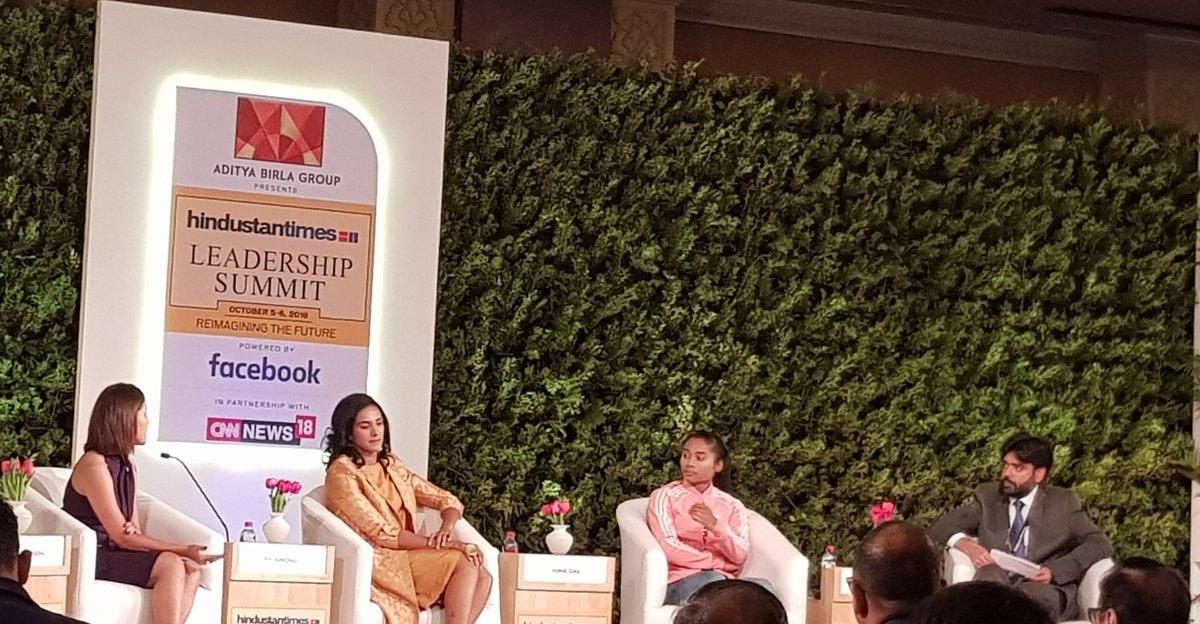 The three key women achievers of Indian sports sharing their views at one platform #Hindustantimesleadershipsummit @Pvsindhu1 @HimaDas8 @HeenaSidhu10 @htTweets @HTSportsNews