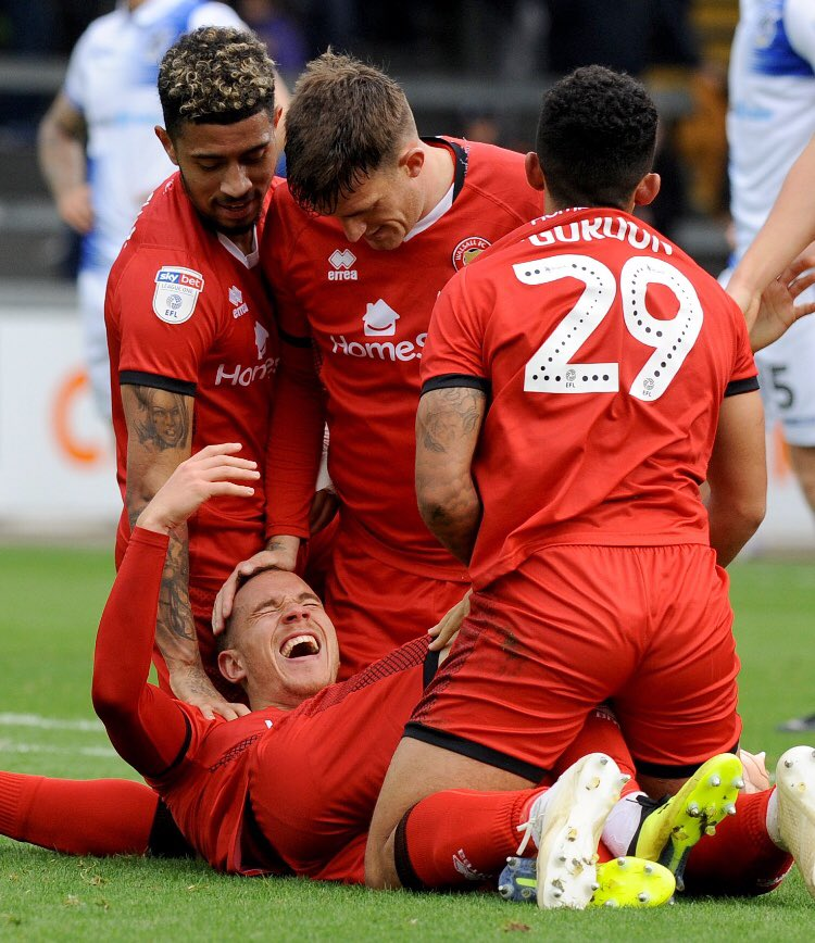 """Asked #Saddlers' @Kieronmorrisx to sum up his emotions after the goal: """"Mad... Crazy... Couldn't believe it. """"@georgedobson97 said he saw me (out of the) corner of his eye, a flash of red... I'm delighted to get a 94th minute winner."""" Brilliant photo from @TimThursfield."""
