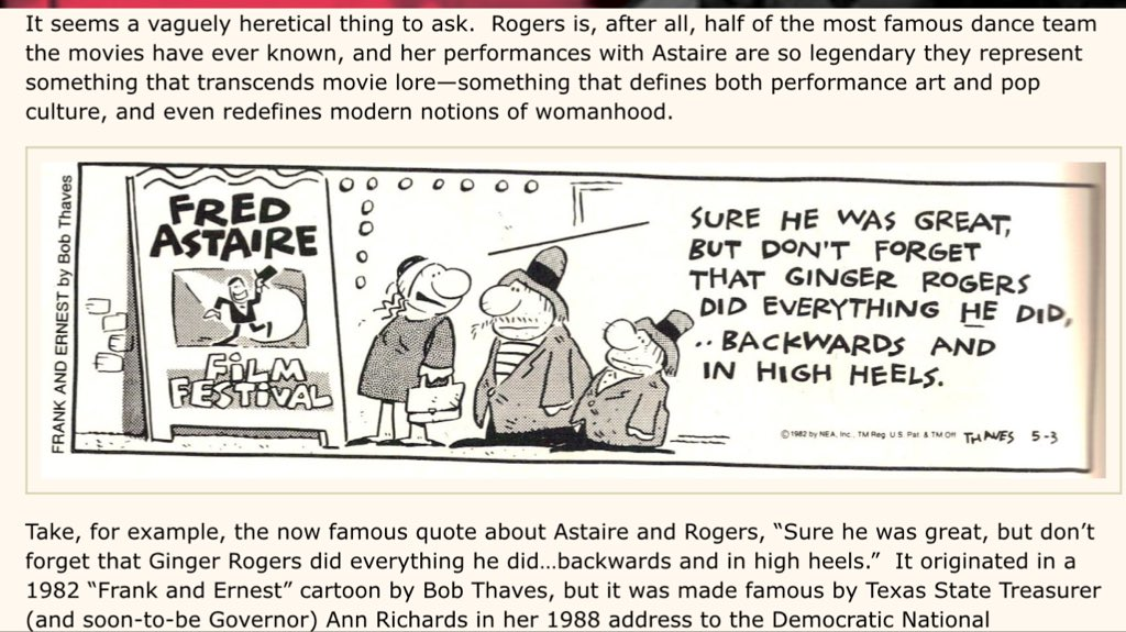 Naglaa El Abbadi On Twitter Sure Fred Astaire Was Great But Don T Forget That Ginger Rogers Did Everything He Did Backwards And In High Heels Cartoonist Bob Thaves 1982 Women Https T Co Htglgcikqr