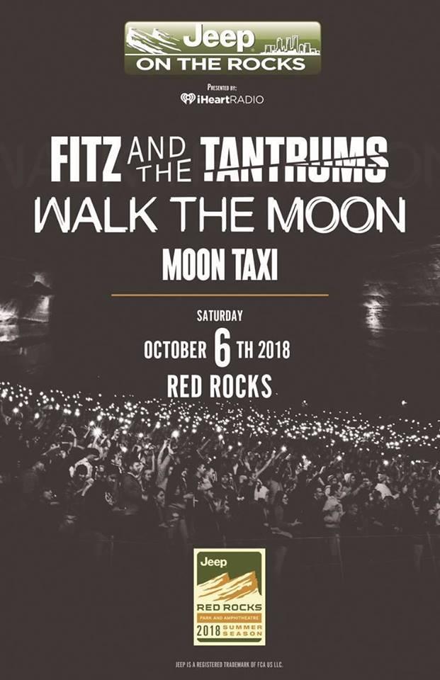 TONIGHT: @FitzAndTantrums, @WALKTHEMOONband and @MoonTaxi at #RedRocksCO Doors 5:30 p.m. | Show 7:00 p.m.