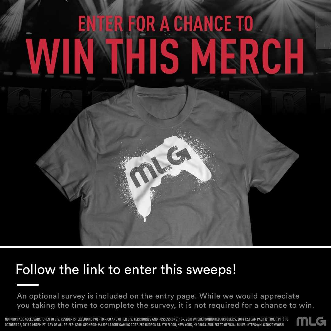 Want a chance to win brand new MLG merch? Complete the brief survey included here and tell us what you think!  Survey Link: https://t.co/1dIfcPwtB2 Official Rules: https://t.co/9R295bCePt