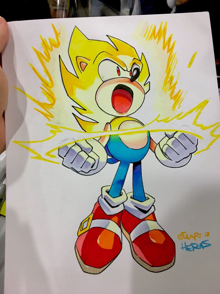 Matt Herms On Twitter Sonic Going Super Coloring Commission Done With Copicmarker At Ny Comic Con Drawn By Jampolinski