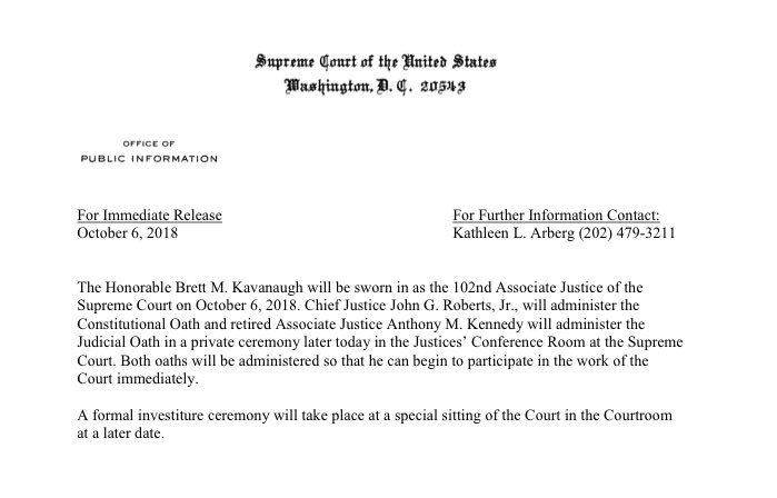 AND: Supreme Court set for Kavanaugh swearing-in tonight