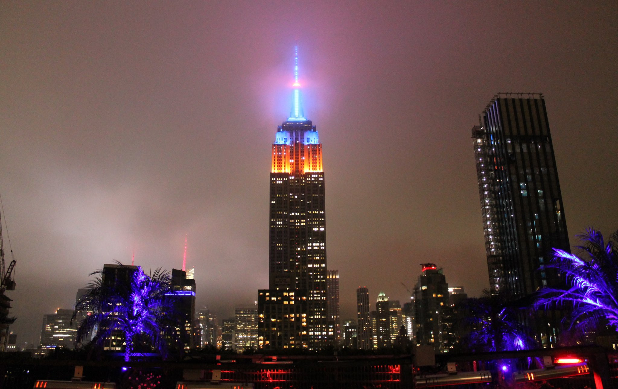 Empire State Building All Lit Up For Isle's Home Opener