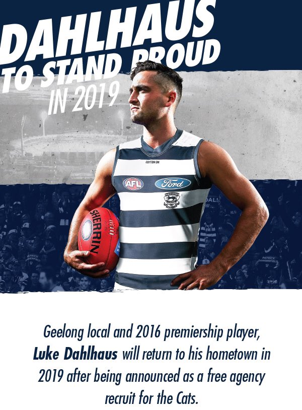 Welcome to @GeelongCats @Luke_dahlhaus looking forward to seeing you in the blue and white in 2019