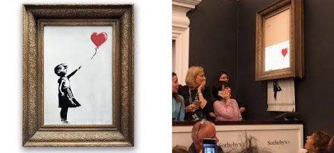 Una obra de Banksy se autodestruye segundos después de ser subastada por un millón de libras en Sotheby's #arte microsiervos.com/archivo/arte-y…