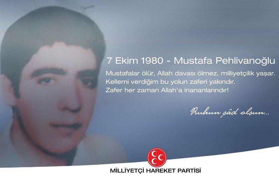Ülkücü Şehidimiz Mustafa Pehlivanoğlu'nu vefatının 38.Yılında rahmet ve dua ile anıyorum.