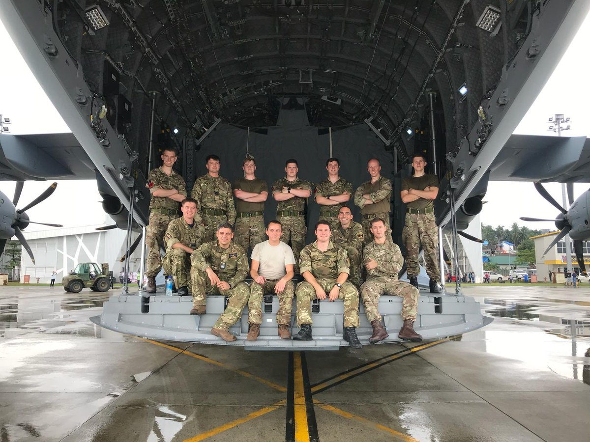 Today's crew after another successful mission to Balikpapan delivering food, water and survival equipment for those in need after the devastating earthquake and Tsunami in Indonesia! #indonesiatsunami #A400M #RoyalAirForce #NoOrdinaryJob #UKaid #humanitarian #teamwork