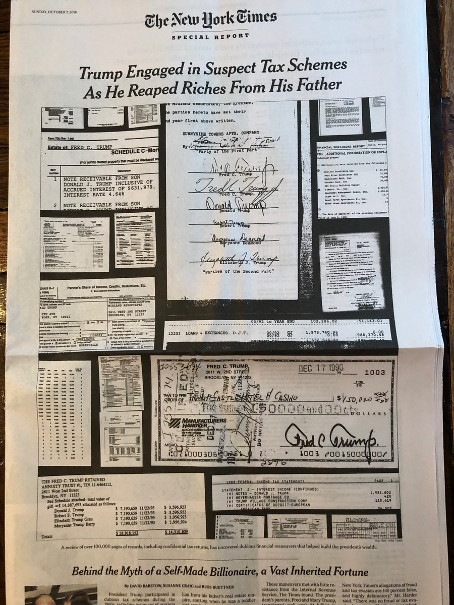 For anyone who missed it last week, the @nytimes reprints the extraordinary journalistic investigation of Trump's dubious tax schemes in today's print paper. A must-read by @DavidBarstow @susannecraig @russbuettner