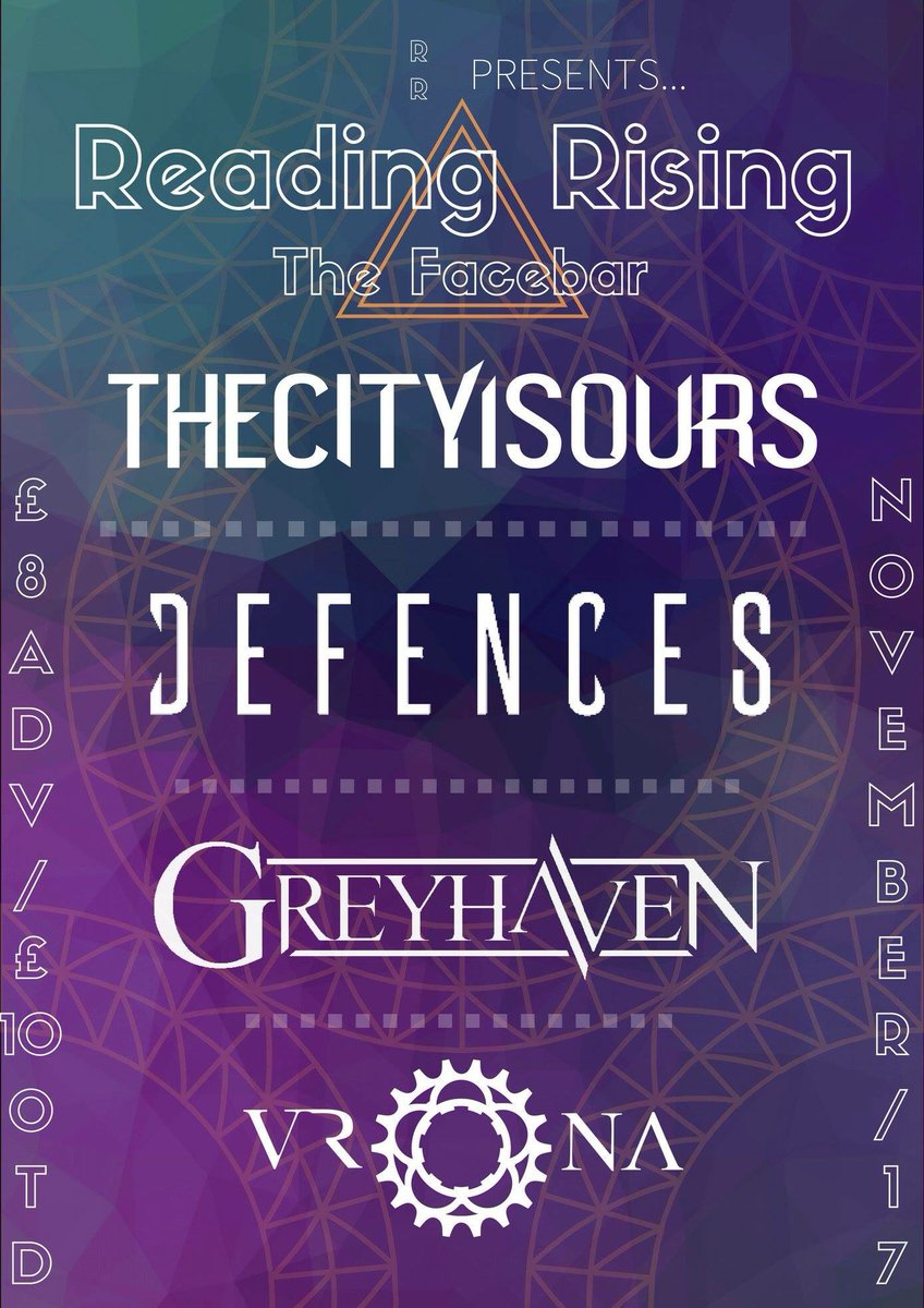 R E A D I NG   We can't wait to hit up The Facebar in Reading on Saturday 17th of November with @THECITYISOURSUK Defences Vrona and more tbc