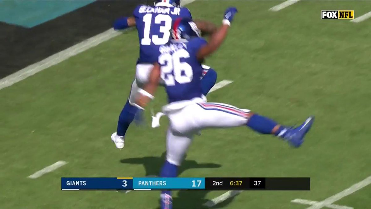 DID. YOU. SEE. THAT!?!  @OBJ to @SAQUON  #NYGvsCAR