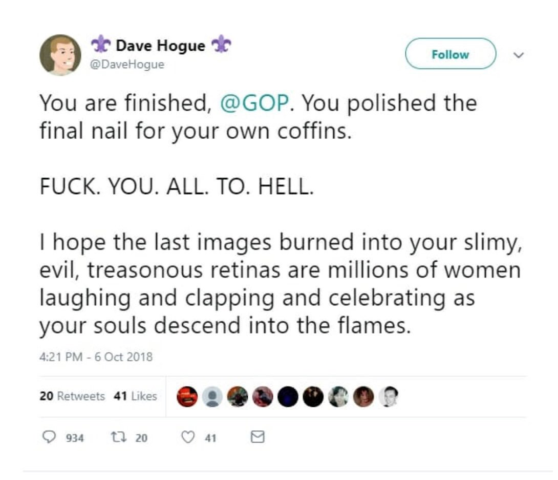 """Take a look at the threats a """"Lead  designer"""" issued to Republicans. Deleted after the attn, but still must ask , is this acceptable from someone in your leadership?"""