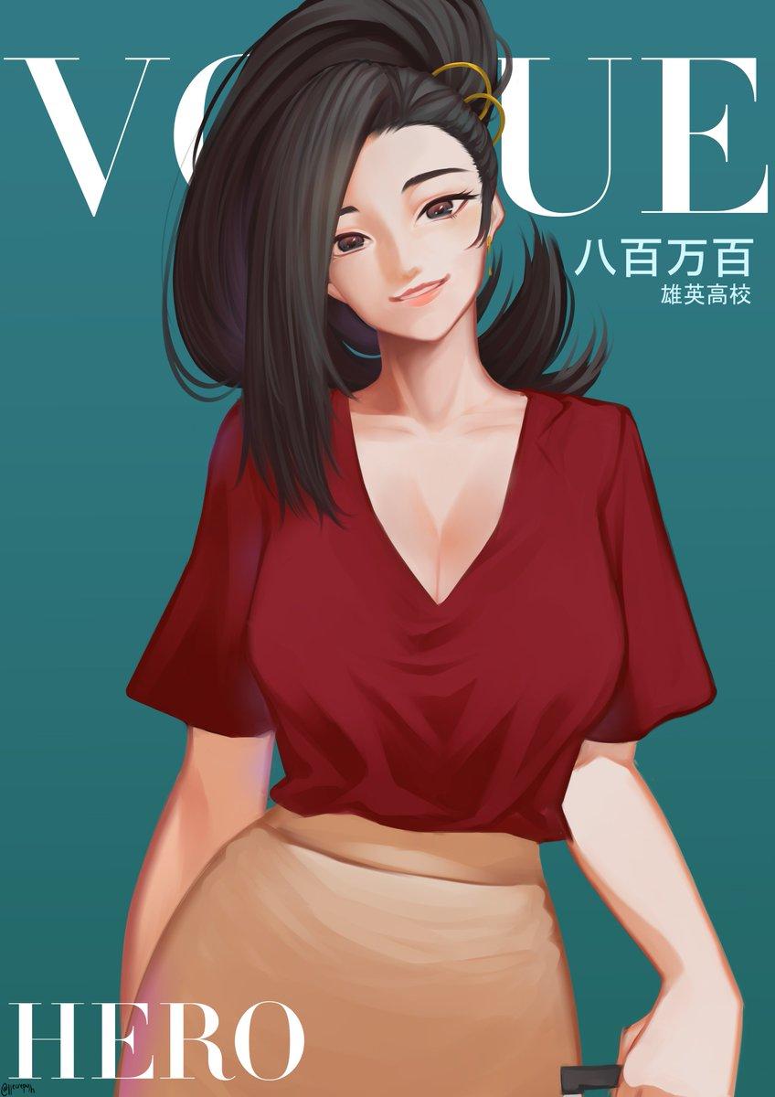 Here is Momo! <3 It's been so long since I last painted. Huhu😭✨ #Vogue #Yaoyorozumomo #bnha #mha