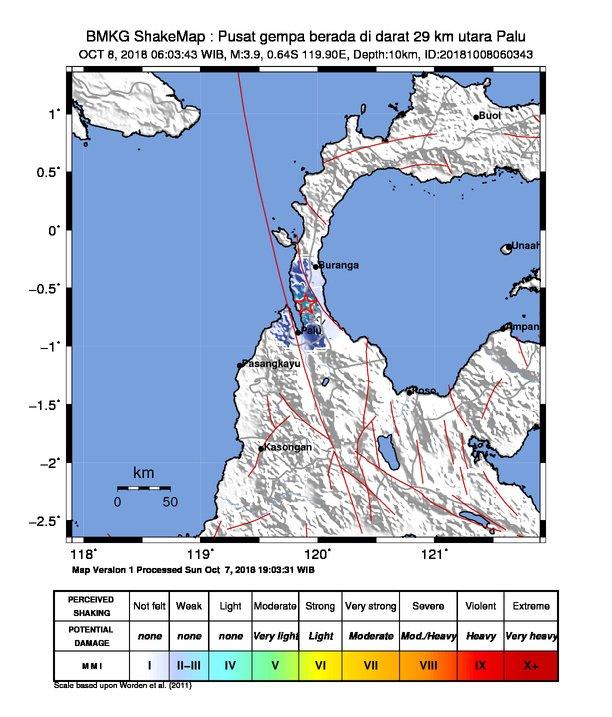 Gempa Mag Okt   Wib Lok   Bt Pusat Gempa Berada Di Darat  Km Utara Palu Kedlmn Km Dirasakan Mmi Iii Palu Bmkg