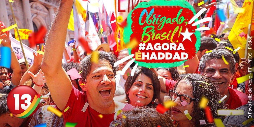 O Brasil quer ser feliz de novo! Estamos no segundo turno, graças a vocês, graças ao povo! #AgoraÉHaddad
