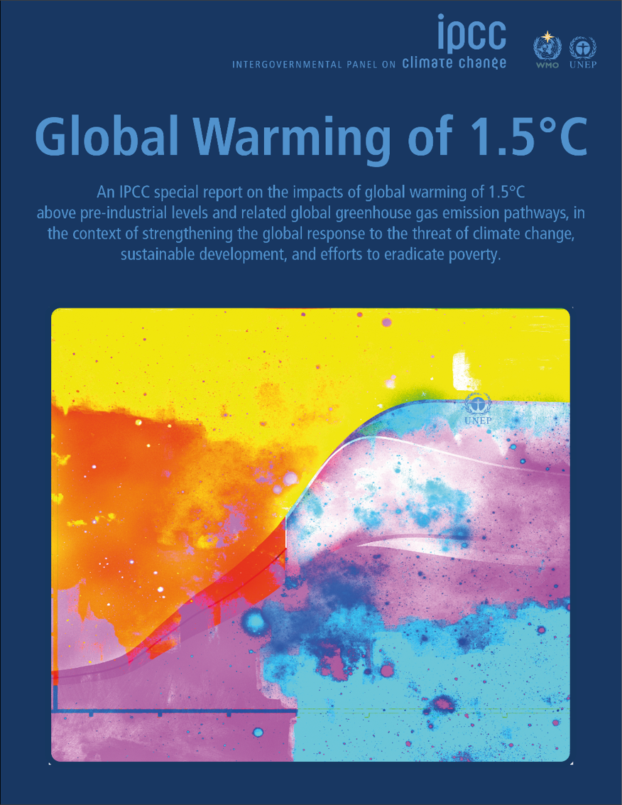 Cover of IPCC-CH report, Special Report of Global Warming of 1.5°C