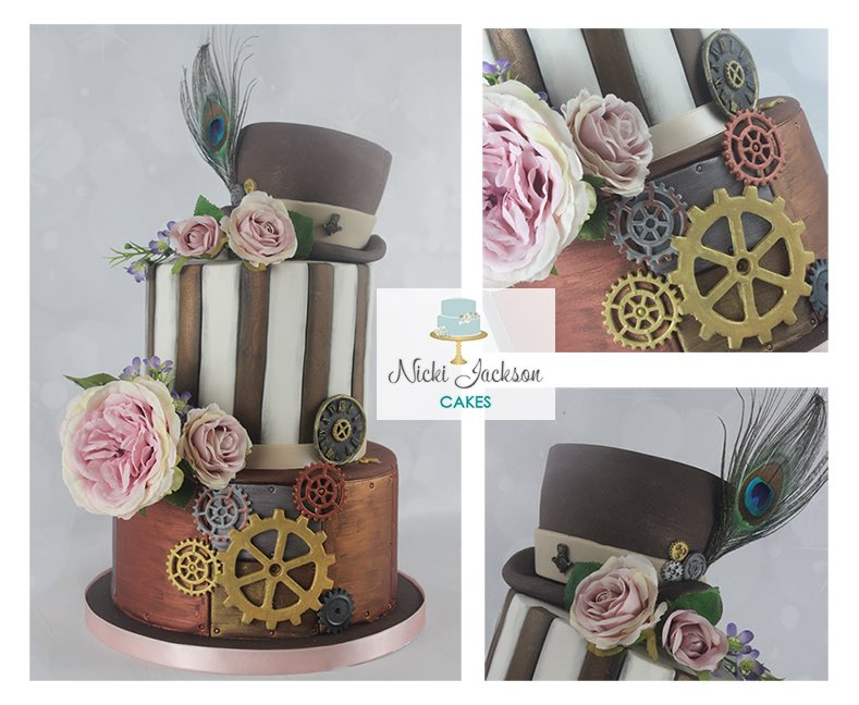 #Cake 🍰 Awesome of the Day: #Steampunk ⚙️ Pièce Montée #Birthdaycake 🎂 with Hat 🎩 Roses 🌹 Gears Cogs 🔧 via @NJacksonCakes #SamaCake