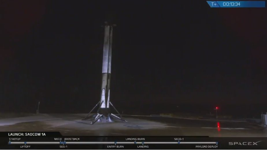 Falcon 9 on Landing Zone 4 after delivering SAOCOM 1A to low Earth orbit, marking the 30th successful landing of a rocket booster.