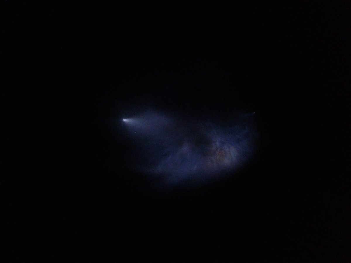 I saw the launch and wow I can't even describe it here's a crappy photo #SpaceX