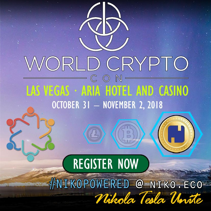Excited to be @WorldCryptoCon (Oct 31 - Nov 2 in #LasVegas) and represent the #NikoPowered community. Want to come and see this epic #blockchain event? Follow our link to enjoy some savings.  #altcoins #crypto #cryptocurrency #blockchainconference #retweet https://bit.ly/2PmqVVo