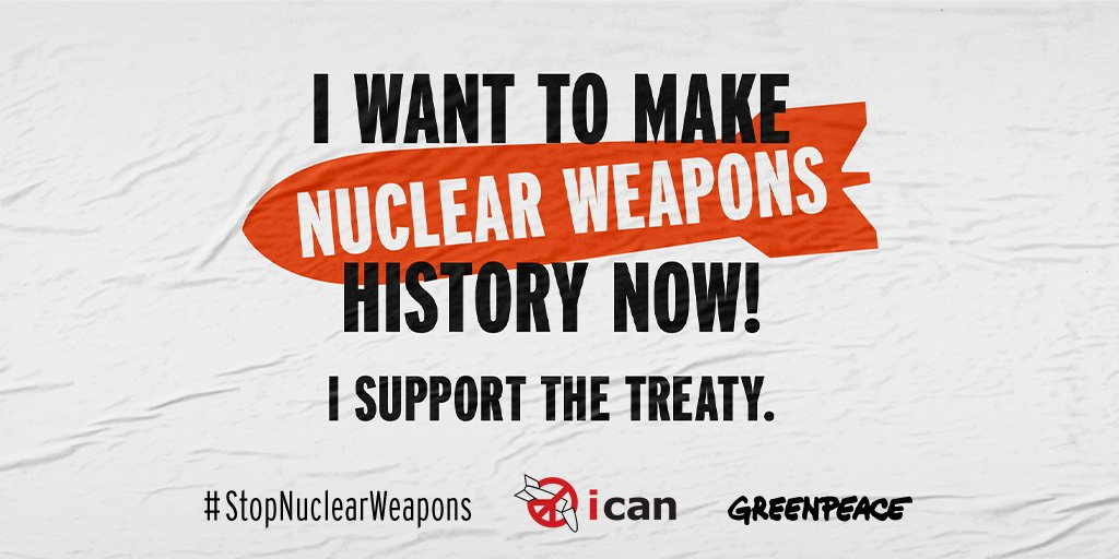 Today is the International Day for the total elimination of nuclear weapons. We're joining forces with @nuclearban to make nuclear weapons history. Are you on board? #StopNuclearWeapons #NuclearBan