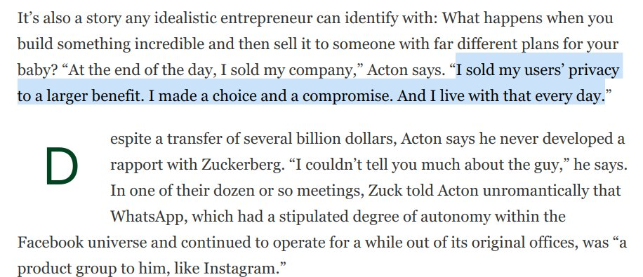 SCOOP from @parmy - WhatsApp Cofounder Brian Acton Gives The Inside Story On #DeleteFacebook And Why He Left $850 Million Behind forbes.com/sites/parmyols… This comment from Acton is just ... wow.