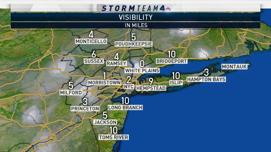 Watch out for areas of patchy fog out on the roads this morning... Visibility has been reduced to less than a mile in spots. Proceed with caution. #NBC4NY